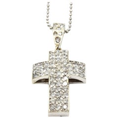 1.50 Carat Diamond 14 Karat White Gold Cross Necklace