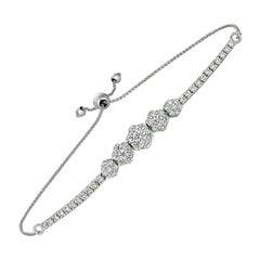 1.50 Carat Diamond 5 Flower Bolo Bracelet G SI 14K White Gold