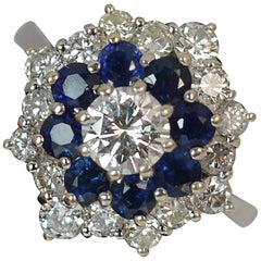 1.50 Carat Diamond and Sapphire 18 Carat White Gold Cluster Ring