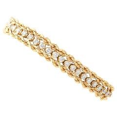 1.50 Carat Diamond and Yellow Gold Rope Twist Bracelet