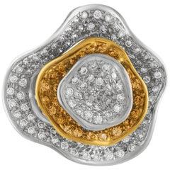 1.50 Carat Diamond and Yellow Sapphire Gold Flower Ring