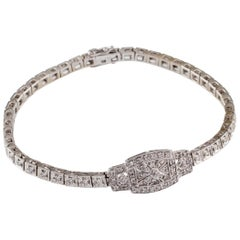 1.50 Carat Diamond Art Deco Inspired Plaque Bracelet in White Gold