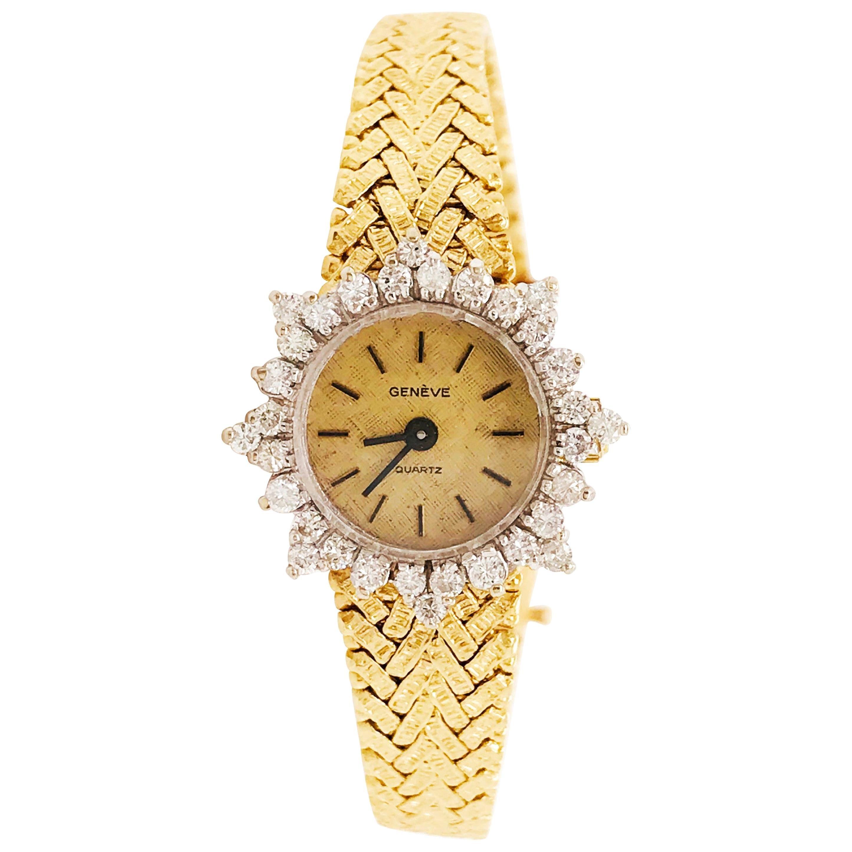 1.50 Carat Diamond Bezel Geneve Quartz Ladies Gold Watch, 14 Karat Yellow Gold