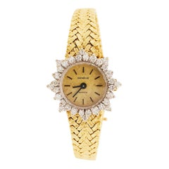 1.50 Carat Diamond Bezel Geneve Quartz Ladies Gold Watch, 14 Karat Yellow Gold