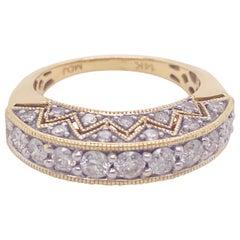 1.50 Carat Diamond Bombe Ring 14 Karat Gold Custom Fashion Diamond Band Ring