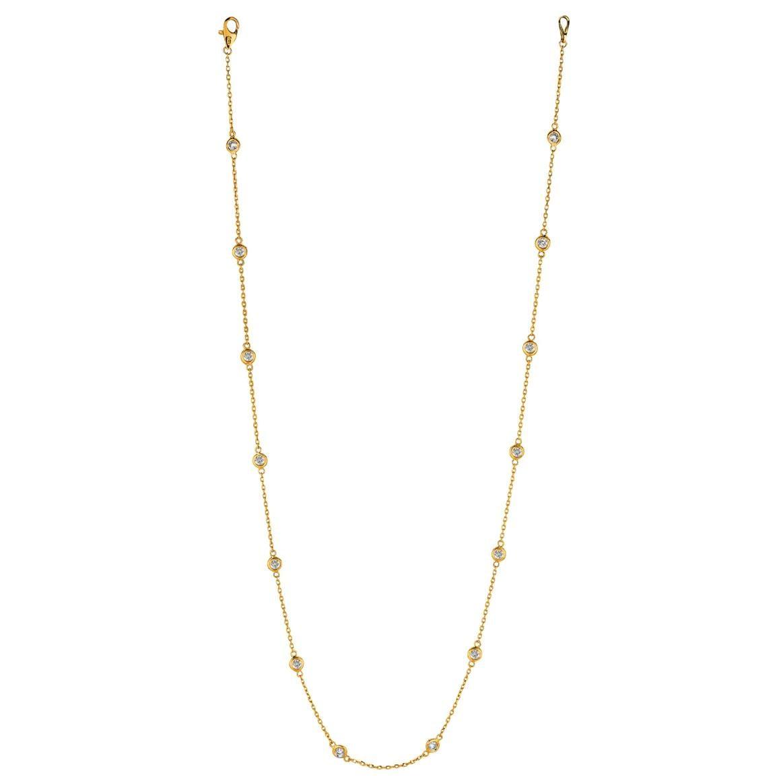 1.50 Carat Diamond by the Yard Necklace G SI 14 Karat Yellow Gold