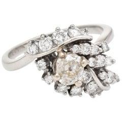 1.50 Carat Diamond Cocktail Ring Vintage 14 Karat White Gold Estate Fine Jewelry