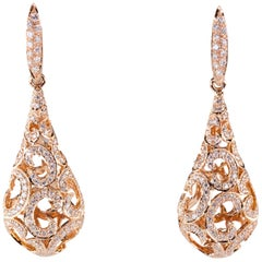 "1.50 Carat Diamond Dangle Puff Earrings ""C"" Motif in Rose Gold"