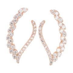 1.50 Carat Diamond Earrings 14 Karat Rose Gold