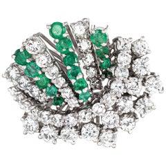 1.50 Carat Diamond Emerald Cluster Ring Vintage 18k White Gold Spray Jewelry