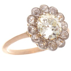 1.50 Carat Diamond Gold Cluster Engagement Ring