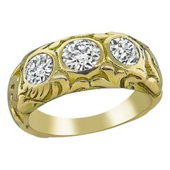 1.50 Carat Diamond Gold Three-Stone Ring