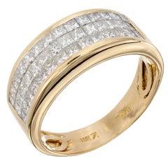 1.50 Carat Diamond Invisible Set Gold Band Ring