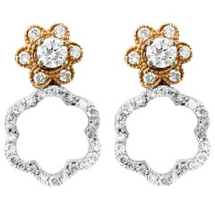 1.50 Carat Diamond Multi Style Earrings and Stud in 14 Karat Two-Tone Gold