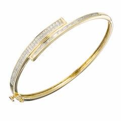 1.50 Carat Diamond Princess Baguette Gold Bangle Bracelet