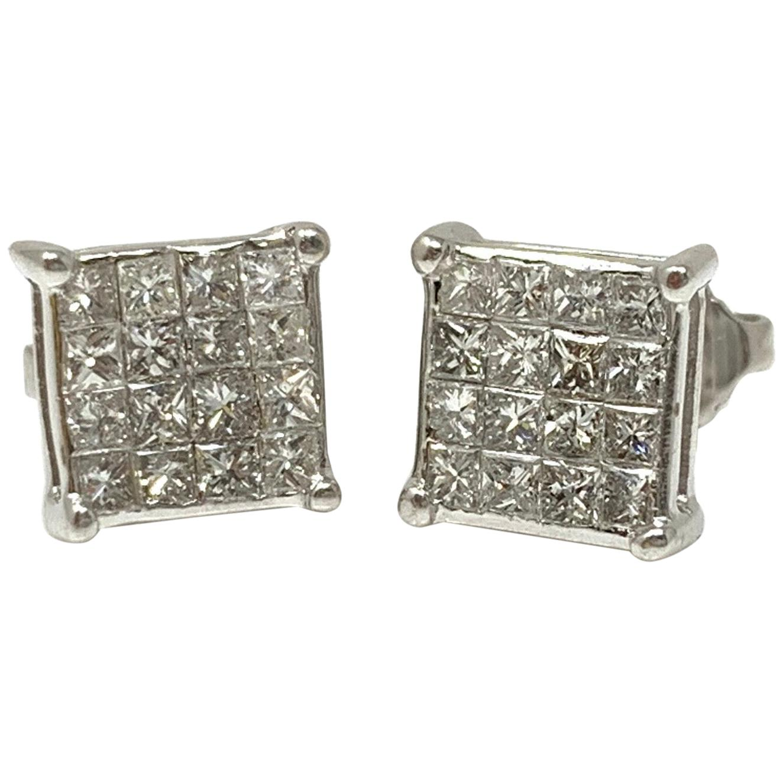 1.50 Carat Diamond Stud Earrings in White Gold
