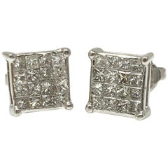 1.50 Carat Diamond Stud Earrings in White Gold