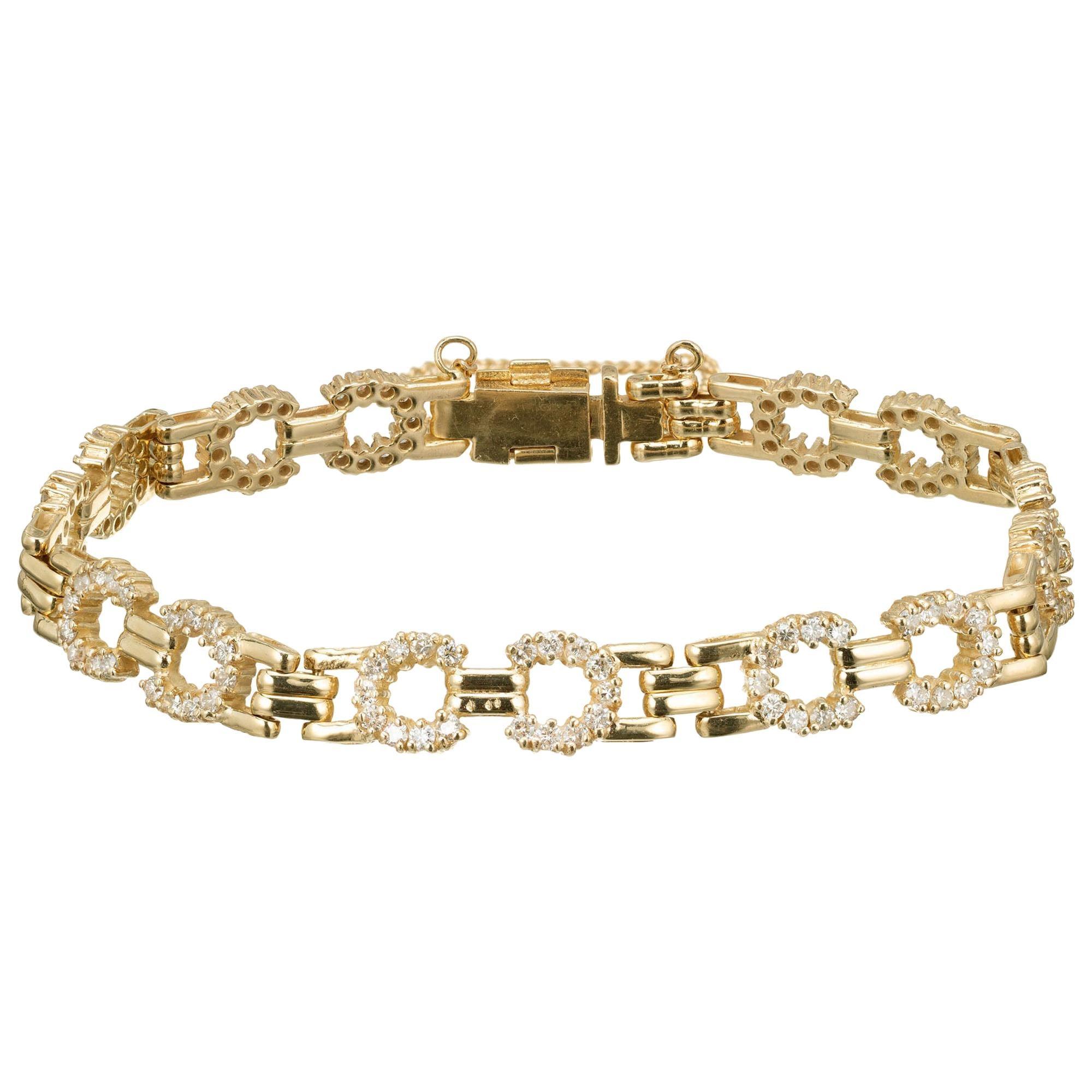1.50 Carat Diamond Yellow Gold Link Bracelet