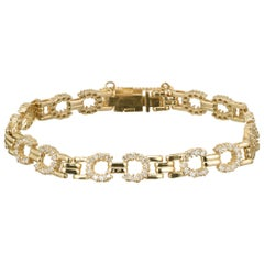 1.50 Carat Diamond Yellow Gold Link Bracelet