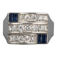 1.50 Carat Diamonds and Sapphires French Art Deco Ring