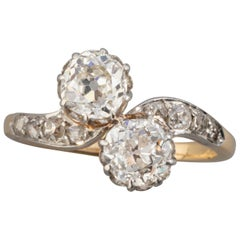 1.50 Carat Diamonds French Antique Toi et Moi Ring