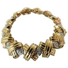 "1.50 Carat Diamonds Heavy Classic ""X"" Bracelet 14 Karat Best!"