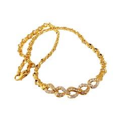 1.50 Carat Diamonds Interlinked 18 Karat Gold Necklace