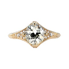 1.50 Carat GIA Certified Old European Cut Diamond Filigree Ring