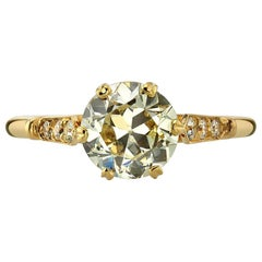 1.50 Carat EGL Certified Old European Cut Diamond Set in an 18 Karat Gold Ring