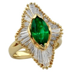1.50 Carat Emerald and Diamond Ballerina Ring
