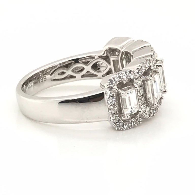 Women's 1.50 Carat Emerald Cut and Round Diamond Ring For Sale