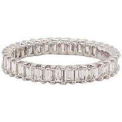 1.50 Carat Emerald Cut Diamond Eternity Band in 18 Karat White Gold Diamond Band