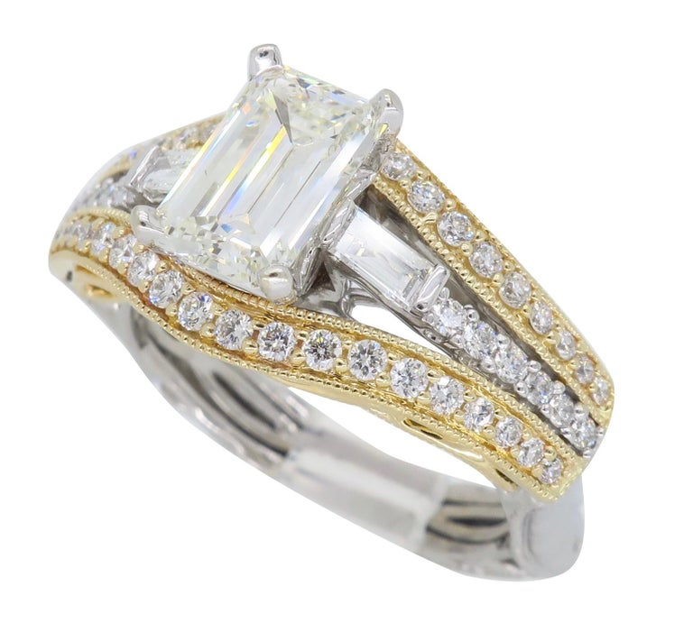 1.50 Carat Emerald Cut Diamond Ring In Excellent Condition For Sale In Webster, NY