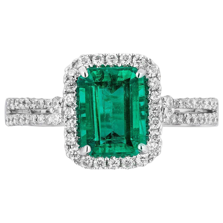 1.50 Carat Emerald Diamond Cocktail Ring