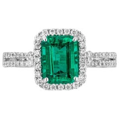 1.50 Carat Emerald Diamond Cocktail Ring