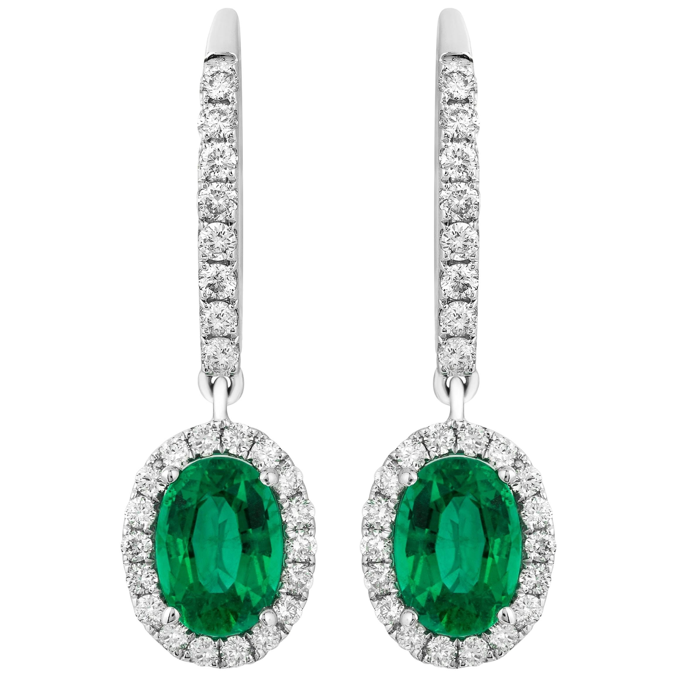 1.50 Carat Emerald Diamond Dangle Earrings