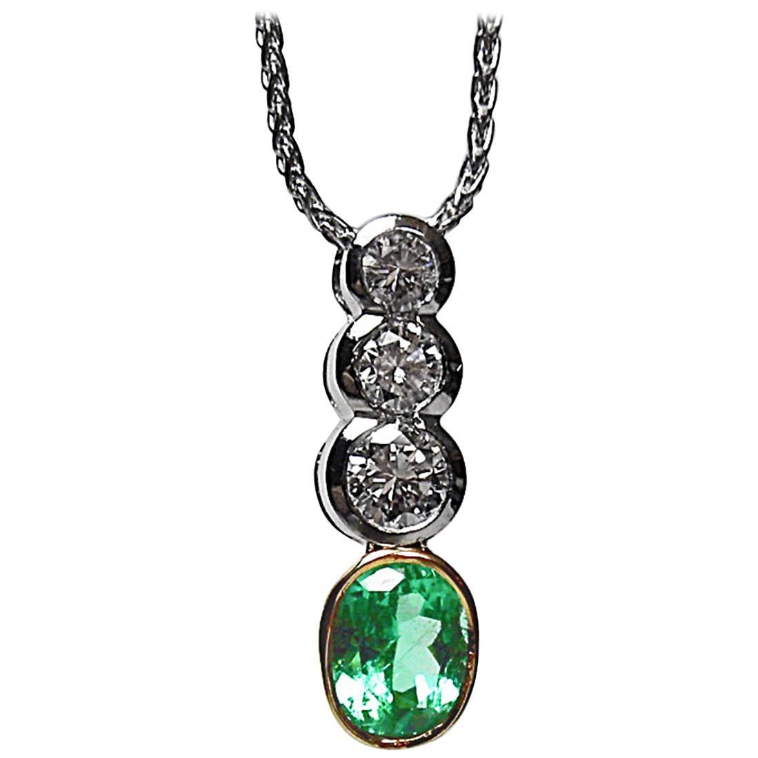 1.50 Carat Emerald Diamond Pendant Drop Necklace Platinum and 18 Karat Gold