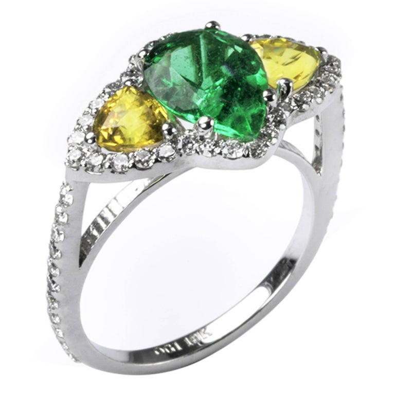 Pear Shape Emerald Yellow Sapphire Diamond Gold Cocktail Ring
