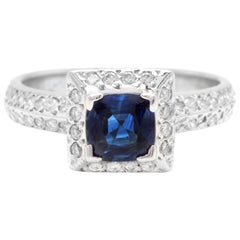 1.50 Carat Exquisite Natural Ceylon Blue Sapphire and Diamond 14K Solid White