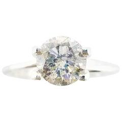 1.50 Carat Fancy Gray Round Diamond Ring 14 Karat Gold IGI Certified