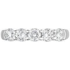 1.50 Carat Conflict Free Five-Stone Round Diamond Wedding Ring in Platinum
