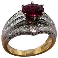 1.50 Carat Garnet and Diamond 14 Karat Yellow and White Gold Handmade Ring