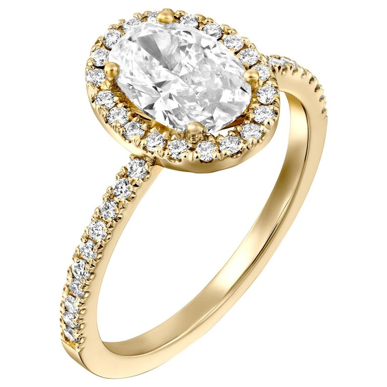 1.50 Carat GIA Oval Halo Diamond Ring, 18 Karat Yellow Gold Oval Cut Ring For Sale