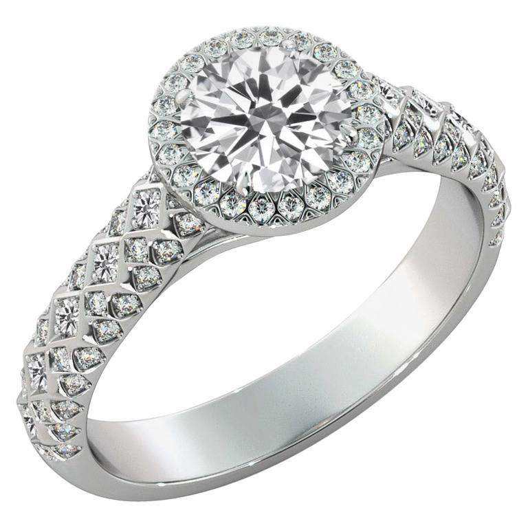 1.50 Carat GIA Round Diamond Engagement Ring, 18 Karat Gold Vintage Halo Ring