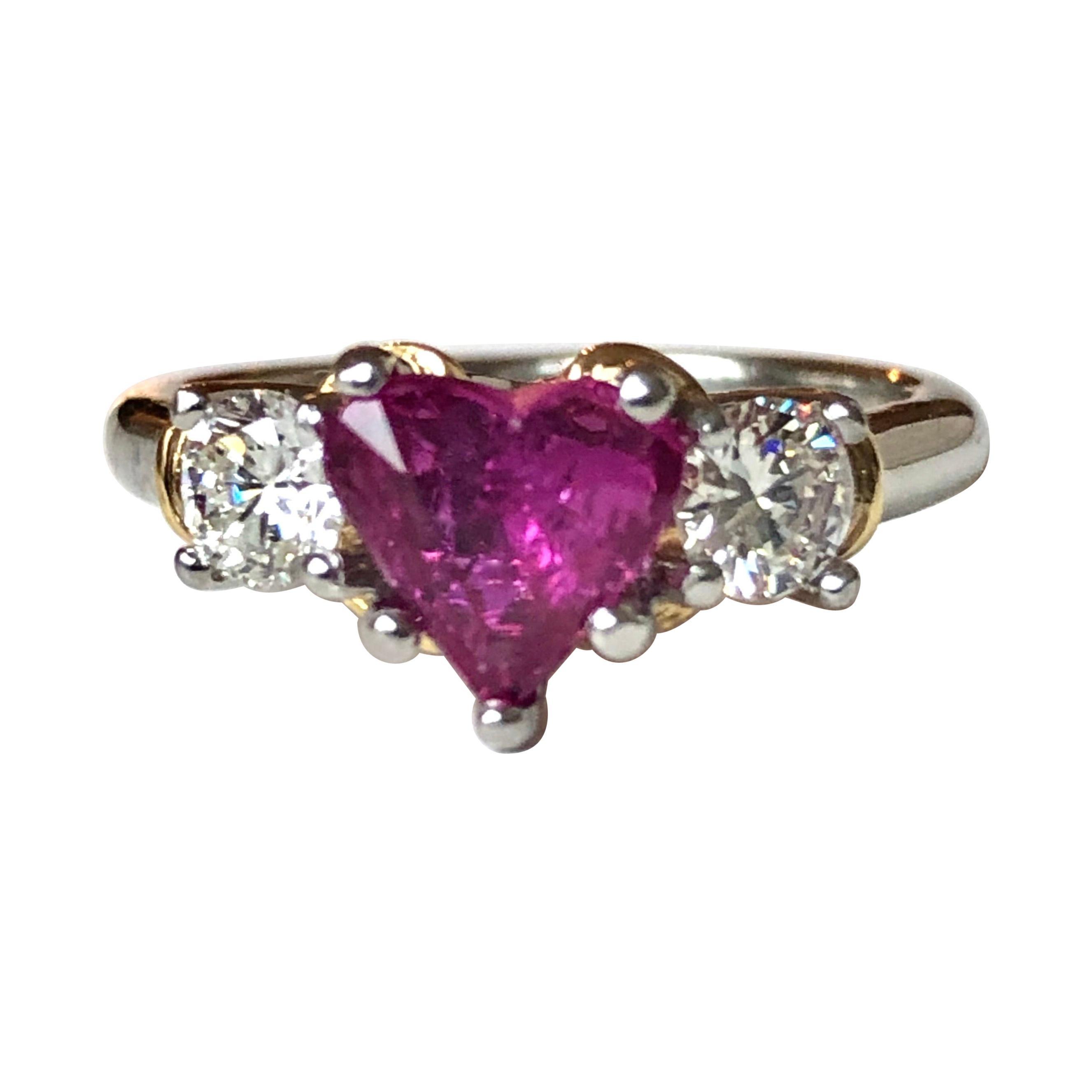 1.50 Carat Heart Shape Ruby Diamond Platinum Gold Engagement Ring