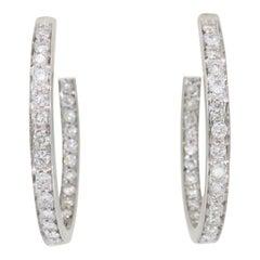 1.50 Carat Inside Out Diamond Hoop Earrings in 18 Karat White Gold