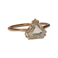 1.50 Carat Light Brown Shield Cut Diamond Engagement Ring in 18K Rose Gold