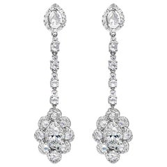 1.50 Carat Marquise and 5 Carat Rose Cut Diamond Earring, 18 Karat Gold