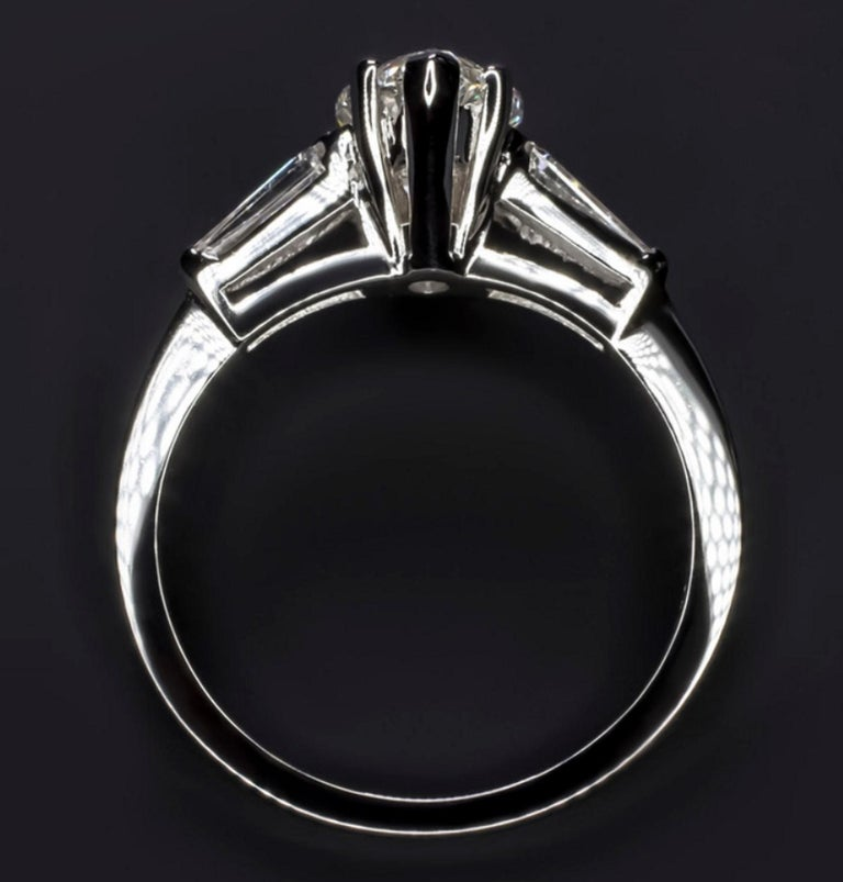 Modern 1.50 Carat Marquise Baguette Diamond Engagement Ring For Sale