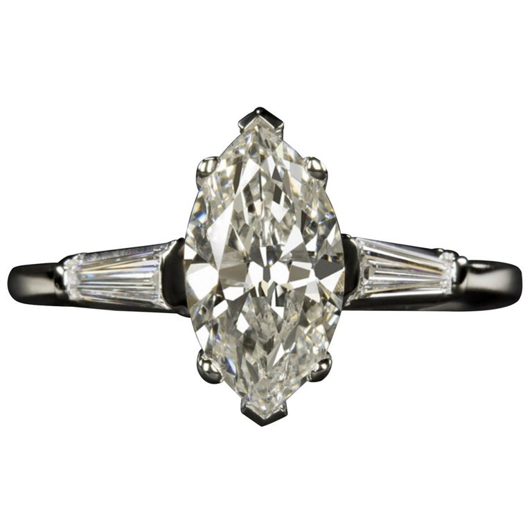 1.50 Carat Marquise Baguette Diamond Engagement Ring For Sale